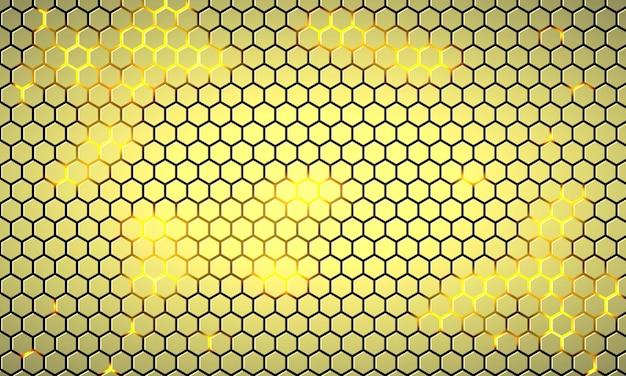 Fondo astratto di tecnologia esagonale giallo chiaro con lampi luminosi