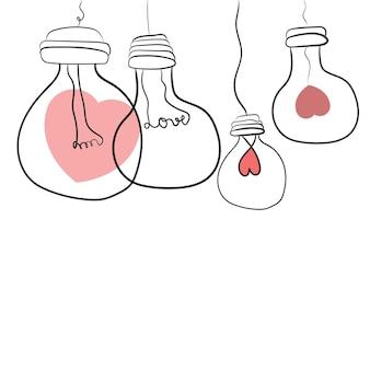 Illustrazione astratta della lampadina con il biglietto di s. valentino, lampadina di amore per la progettazione della decorazione di celebrazione. elemento grafico. illustrazione di scarabocchio di vettore.