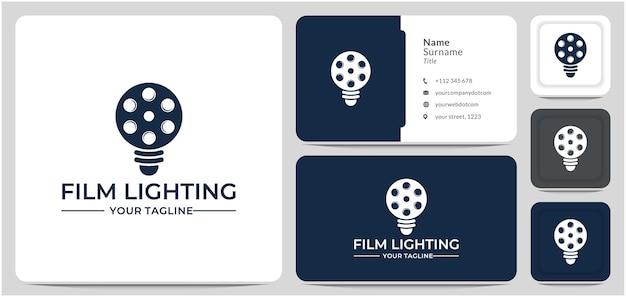 Vettore di progettazione del logo del film della lampadina per il produttore cinematografico del regista