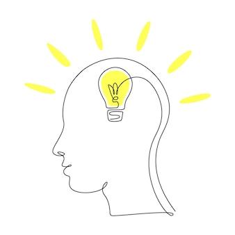 Lampadina in testa in un unico disegno a tratteggio per logo, emblema, banner web, presentazione. concetto di lineart continuo dell'idea. illustrazione vettoriale semplice