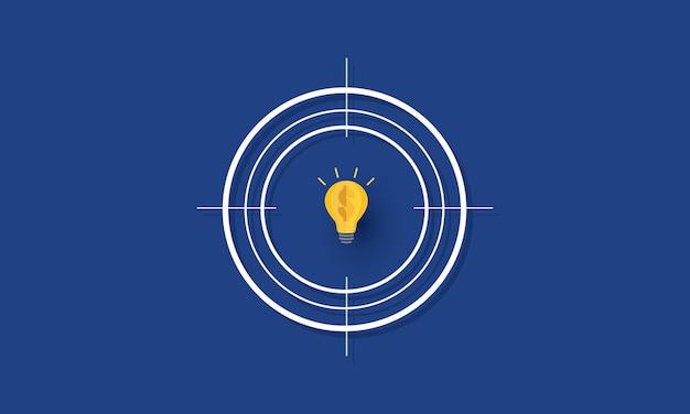 Lampadina con il simbolo del dollaro all'interno dell'obiettivo obiettivo aziendale di successo concetto di ispirazione business