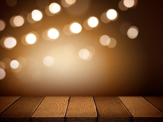 Tavolo in legno bianco illuminato con luci di sfocatura, per usi di elementi, illustrazione
