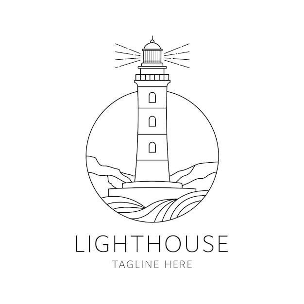Design in stile monolinea logo distintivo faro isolato su sfondo bianco