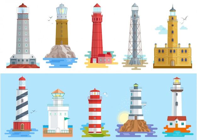 Percorso raggiante più leggero del faro del faro di illuminazione a ses dall'insieme dell'illustrazione della costa della spiaggia dei fari isolati su fondo bianco