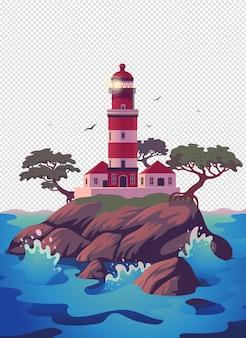 Faro bellissimo faro sulla scogliera con pini illustrazione vettoriale in stile cartone animato piatto