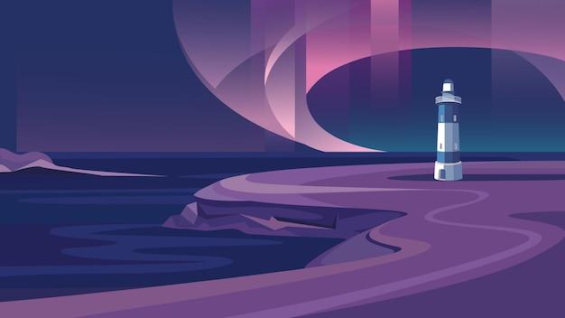 Faro in riva al mare. bellissimo paesaggio con aurora boreale.