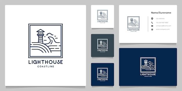 Distintivo di design del logo retrò vintage del contorno della costa del faro con biglietto da visita