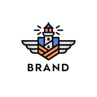 Emblema del faro con scudi e ali per logo