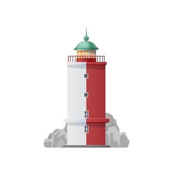 Icona del faro, torre faro sull'oceano e sul mare
