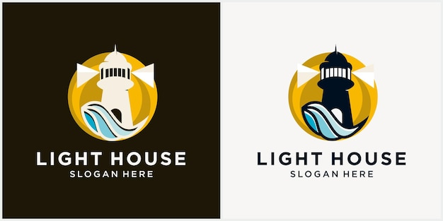 Modello di progettazione del logo del faro con il contorno del faro del logo monolinea degli elementi dell'acqua di mare