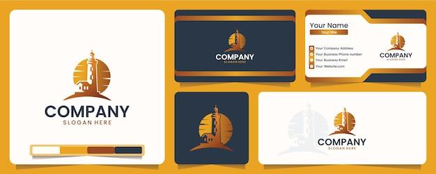 Faro, navigazione, tramonto, onda, design del logo e biglietto da visita