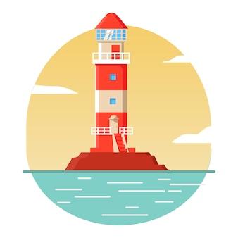 Strisce rosse del faro. case luminose a guida di mare. faro, cartone animato di segnalazione. costruzione su roccia marittima