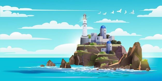 Faro sulla roccia pietre isola illustrazione