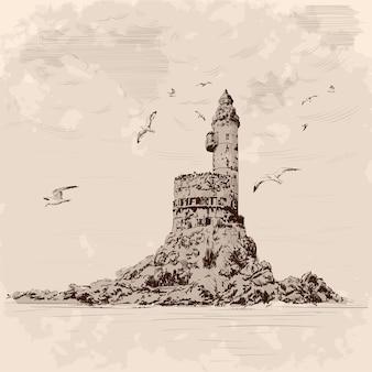Faro sulla spiaggia rocciosa. i gabbiani volano sopra la scogliera. disegno a mano su uno sfondo beige.