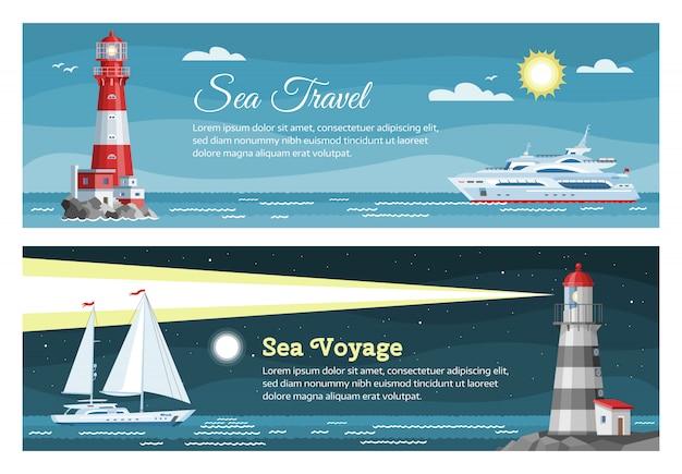 Le insegne di viaggio per mare del faro hanno messo l'illustrazione dell'oceano blu, paesaggio dell'isola. mare con gabbiano, cielo e faro, edificio faro di navigazione.