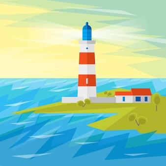 Faro sul mare con onde per la navigazione.