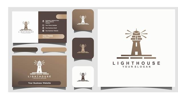 Design del logo dell'isola della torre del faro del faro del faro vector Vettore Premium