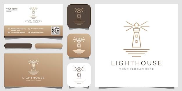 Faro searchlight beacon tower island simple line art style logo design. Vettore Premium