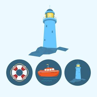 Faro. set con 3 icone rotonde colorate, barca arancione con bandiera e onde, salvagente, faro, illustrazione vettoriale