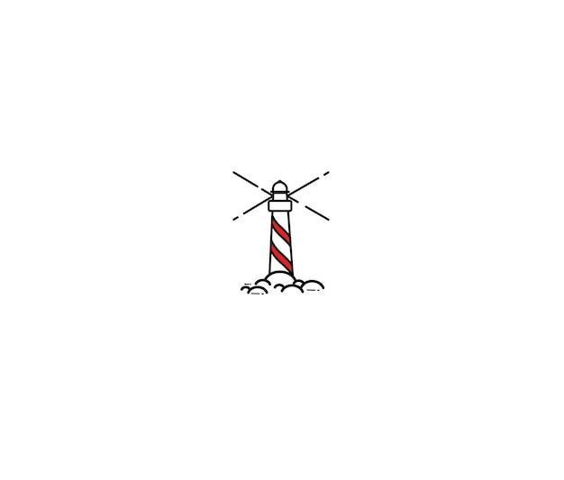 Torre del faro sulle rocce, illustrazione del faro nautico di vettore di schizzo dell'incisione disegnata a mano.