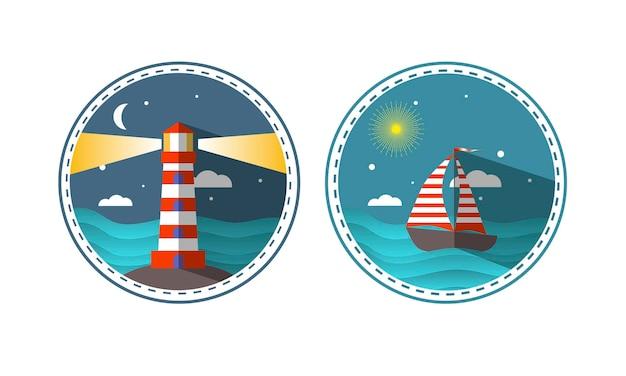 Icone di viaggio del faro