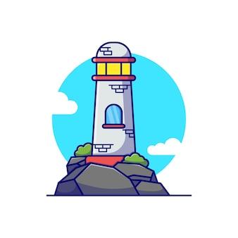 Disegno dell'illustrazione vettoriale del faro sull'isola rocciosa