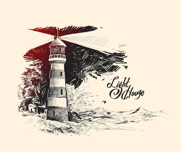 Faro con onde del mare illustrazione vettoriale di schizzo disegnato a mano