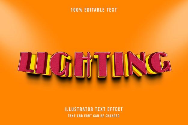 Illuminazione, 3d stile modificabile effetto testo rosso giallo modello moderno stile ombra