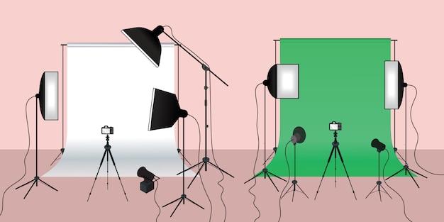 Concetto di fotografia di illuminazione con schermo verde e bianco