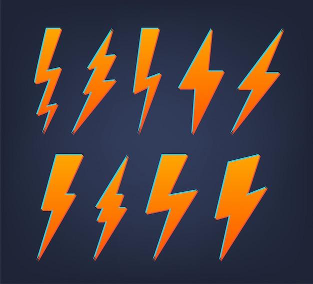 Set di icone piane di fulmine