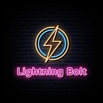 Vettore di testo del segno del logo al neon del fulmine