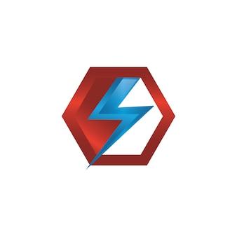 Icona di vettore del fulmine nella progettazione moderna con colore rosso e blu