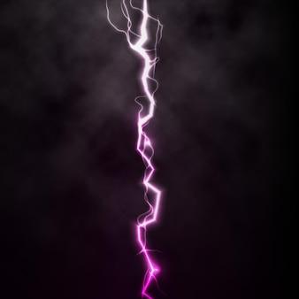 Fulmine lampo di luce tuono scintilla su sfondo nero con nuvole