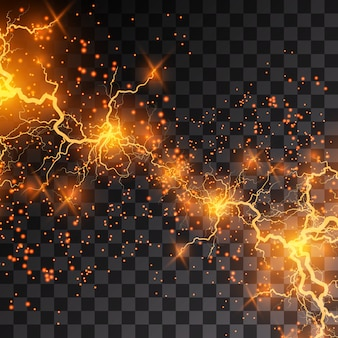Il fulmine lampo di luce tuono scintille su uno sfondo trasparente. fulmini frattali di fuoco e ghiaccio, sfondo di potenza del plasma