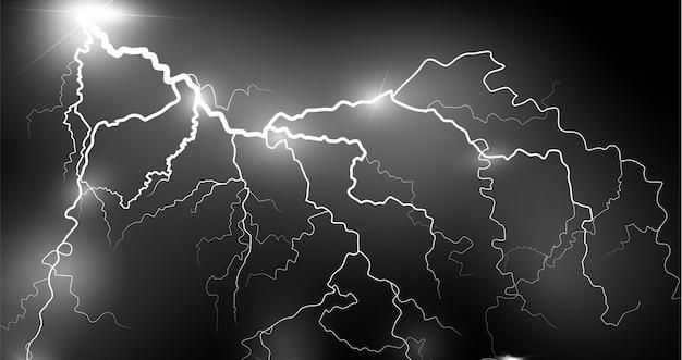 Il fulmine lampo di luce tuono scintille su uno sfondo trasparente. fulmini frattali di fuoco e ghiaccio, sfondo di potenza al plasma