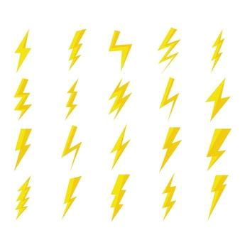 Set di icone piatte fulmine. illustrazione vettoriale