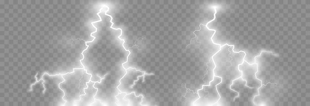 Fulmini, fulmini png set, temporale, illuminazione. fenomeno naturale, effetto luce.