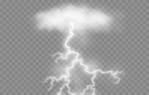 Fulmine, fulmine png, temporale, illuminazione. i fulmini dalla nuvola. fenomeno naturale, effetto luce.