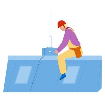 Sistema di protezione contro i fulmini installazione uomo vettore. i dispositivi di protezione contro i fulmini installano il tecnico e l'operaio elettrico sul tetto. personaggio ragazzo elettricista piatto fumetto illustrazione