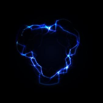 Fulmine rotondo cornice blu plasma portale magico illustrazione vettoriale