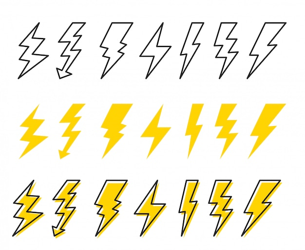 Set di fulmini. stile cartone animato