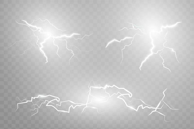 Set fulmini. temporali e fulmini. effetti di luce magici e vibranti.