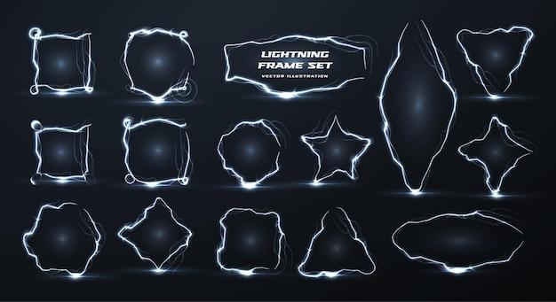 I confini realistici creativi di vettore del fulmine hanno fissato il pacchetto isolato dei telai geometrici vuoti di elettricità