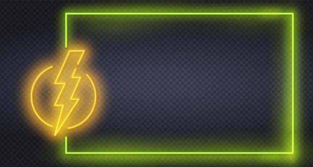 Luce al neon con fulmini gialli