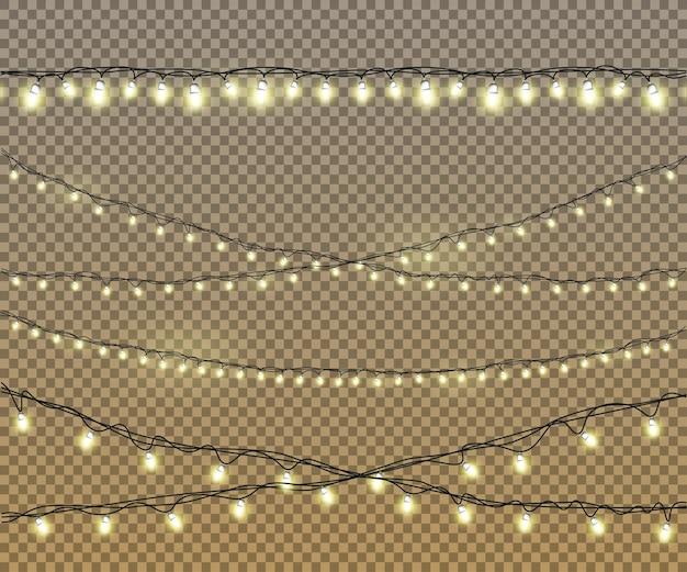 Lampadine impostate su sfondo isolato con luci gialle dorate incandescenti