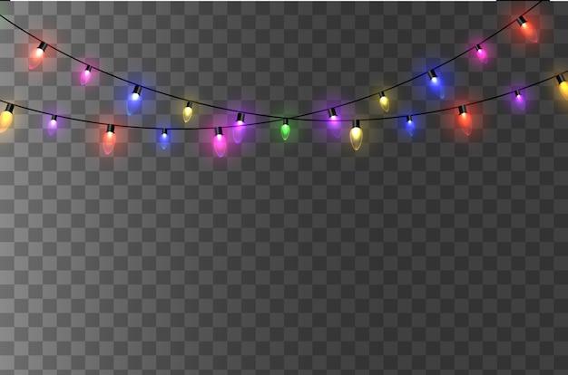 Luci. ghirlanda luminosa colorata. ghirlande di colori, lampadine a bagliore rosse, gialle, blu e verdi. led illuminati al neon su sfondo trasparente. illustrazione