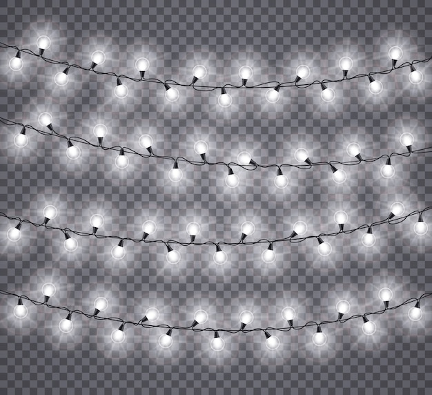 Ghirlande luminose. lampade bianche incandescente della festa di natale, decorazioni di illuminazione per le vacanze di natale. isolato per biglietti di auguri festivi. lampadina incandescente sull'illustrazione della stringa