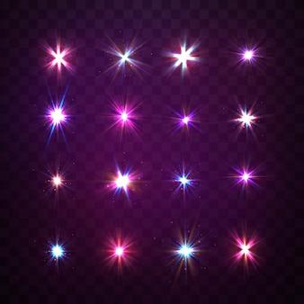 Luci scintille isolate, riflesso lente, esplosione, glitter, linea, lampo solare, scintilla e stelle.