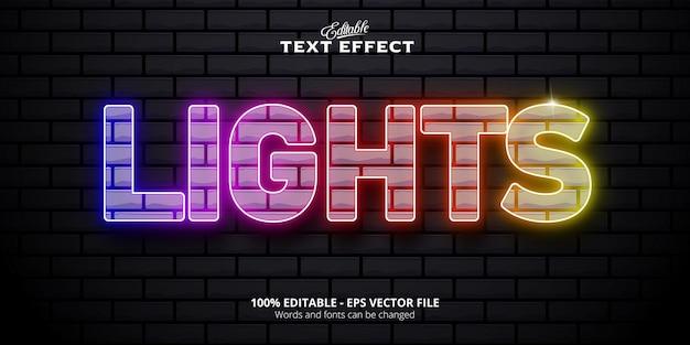Luci testo effetto testo modificabile in stile neon