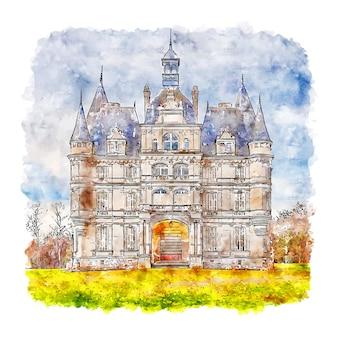 Illustrazione disegnata a mano di schizzo dell'acquerello di ligny le ribault centre france
